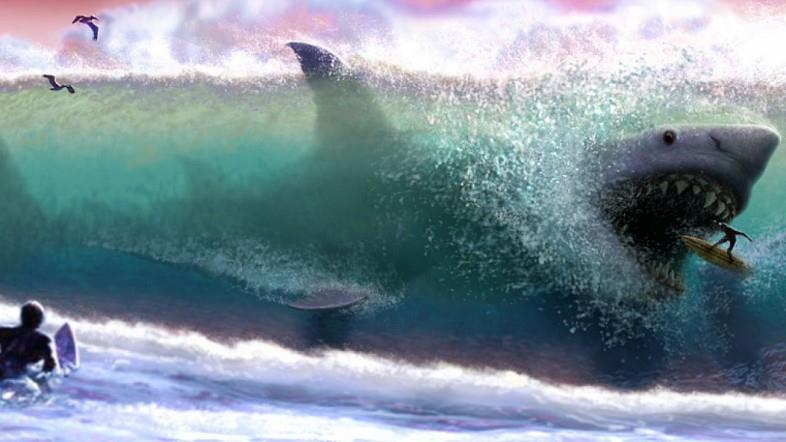 Il mega squalo Meg alle prese con un surfista