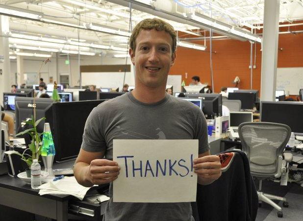 Zuckerberg ringrazia