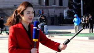Giornalista con selfie-stick in azione