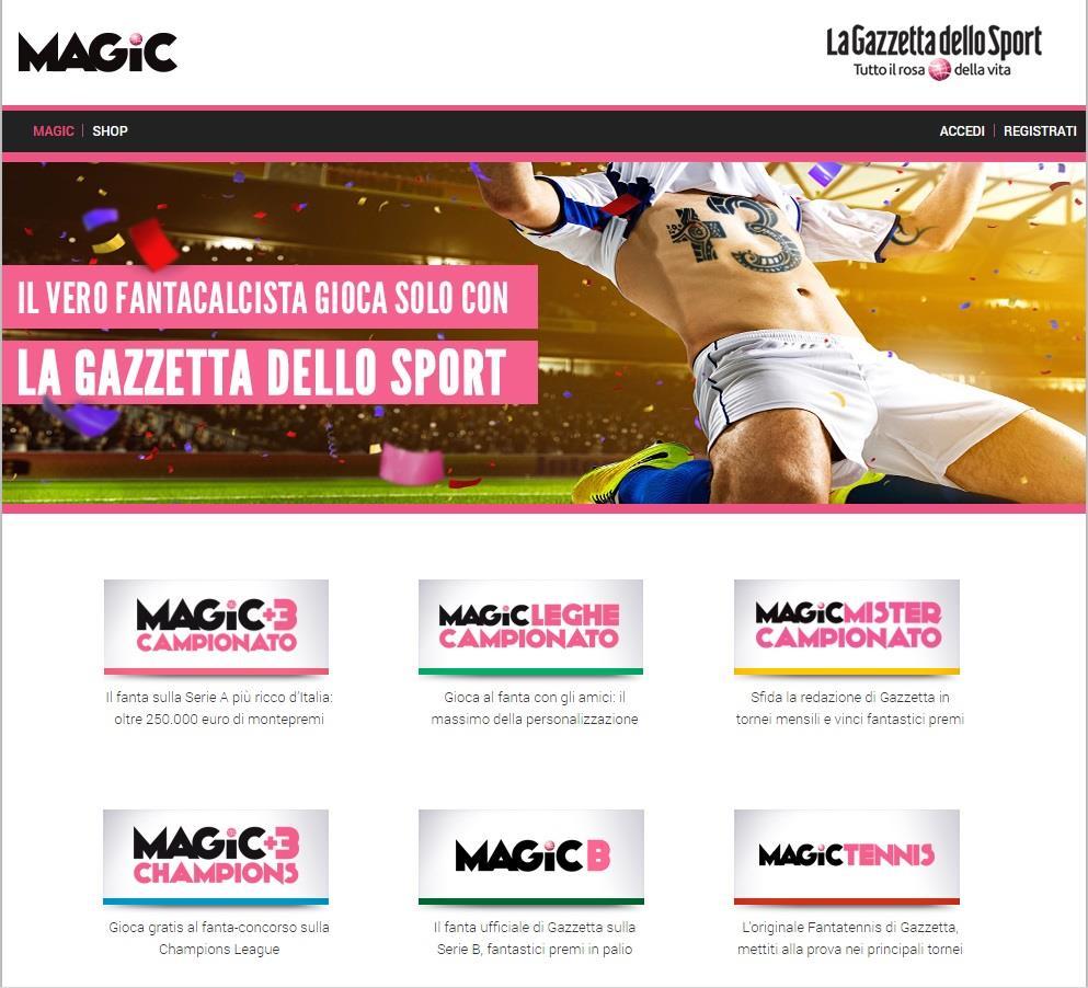 La home page di Magic Gazzetta