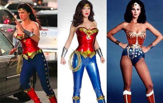 Adrianne Palicki sul set di Amazon e Lynda Carter sul set di Wonder Woman