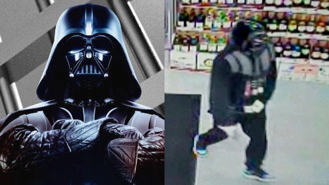 Il rapinatore vestito da Darth Vader mentre tenta una rapina