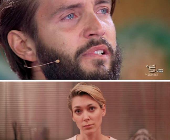 Alex Belli piange mentre la moglie fa finta di lasciarlo