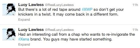 I Tweet di Lucy Lawless sul revival di Xena