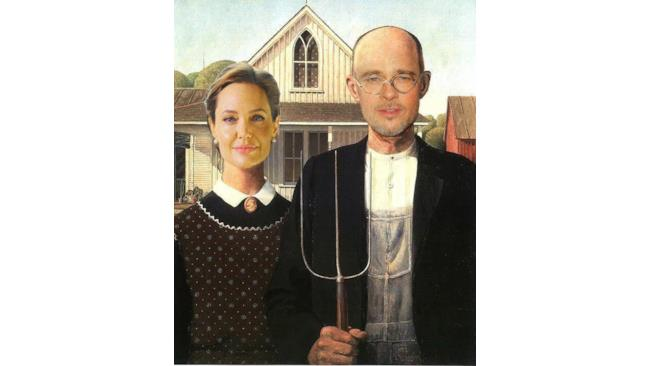 "Angelina Jolie e Brad Pitt in ""American Gothic"" di Grand Wood"