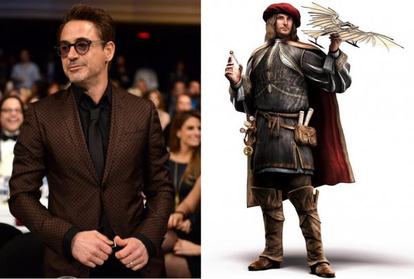 Robert Downey Jr. e Leonardo da Vinci in Assassin's Creed