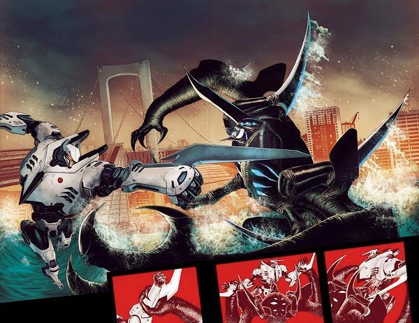 Una pagina di anteprima di Pacific Rim: Tales from the Drift con un Kaijou e uno Jaeger