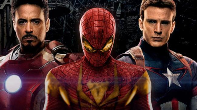 Spider-Man, Captain America e Iron Man in una grafica ispirata a Civil War