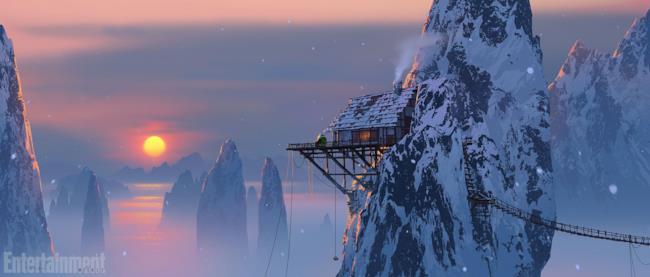 Un avamposto sulle montagne in Kung Fu Panda 3