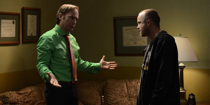 Una scena di Breaking Bad con Jesse Pinkman e Saul Goodman