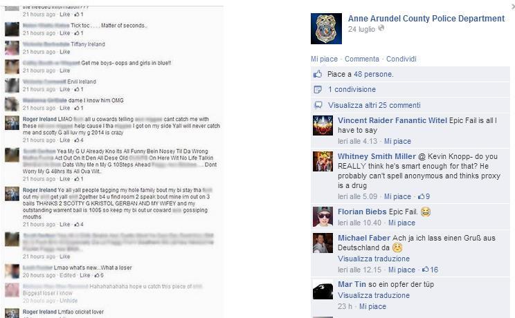 Stato di Facebook della polizia di Baltimora