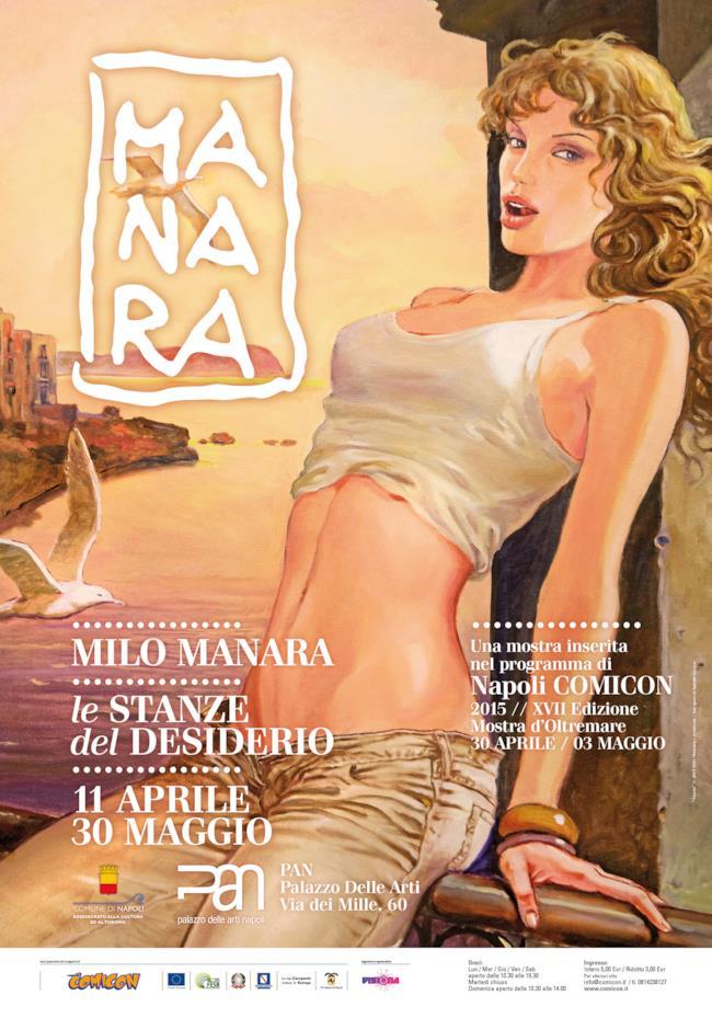 Volantino della mostra Milo Manara: Le Stanze del Desiderio