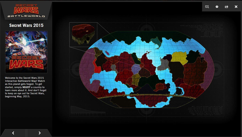 La mappa di Battleworld: l'universo Marvel nato da Secret Wars