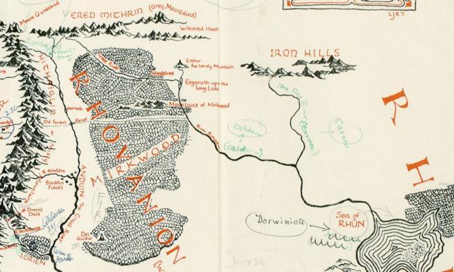 La Mappa della Terra di Mezzo annotata da Tolkien