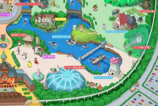Un particolare della mappa del parco Ghibli Land