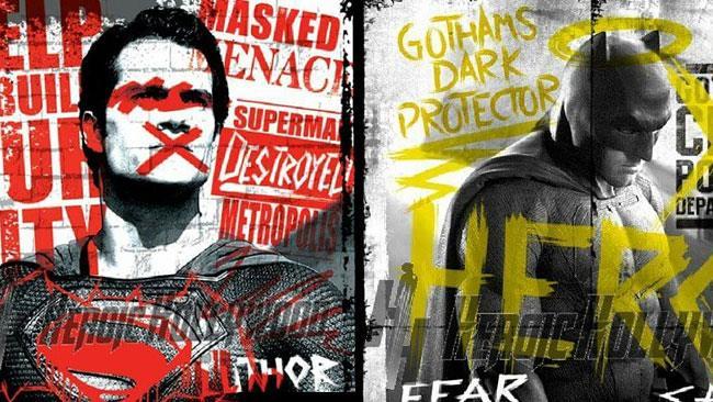 Batman e Superman in nuovi graffiti poster