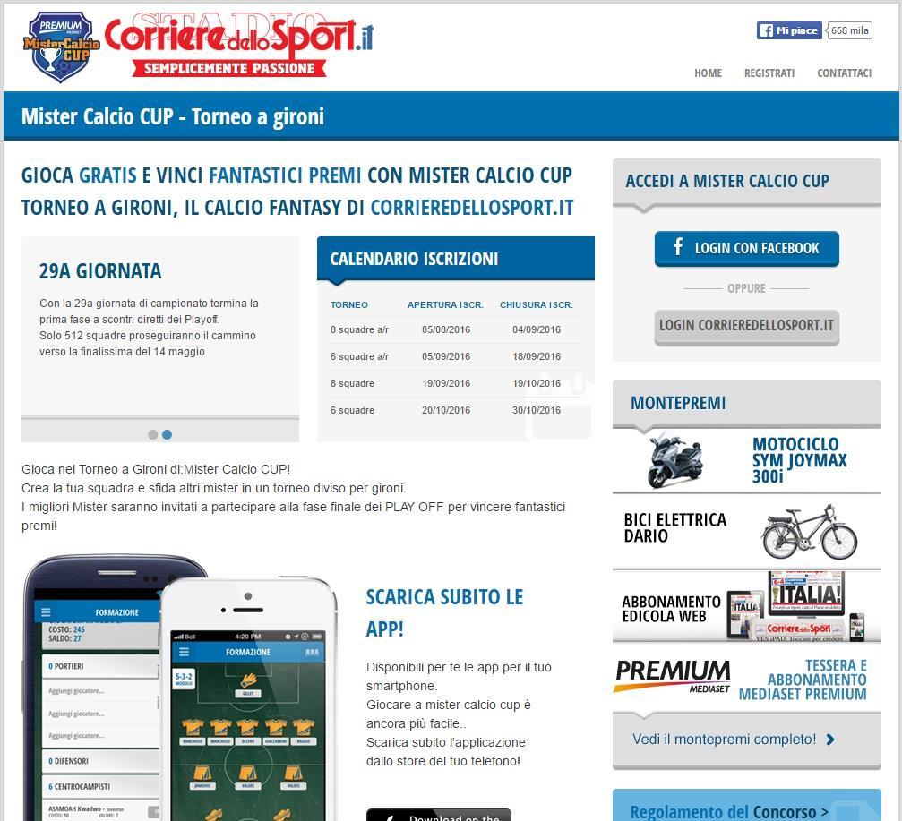 La home page di Mister Calcio CUP