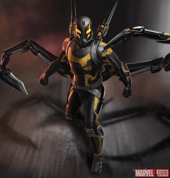 La concept art per il costume di Yellowjacket (Calabrone) in Ant-Man