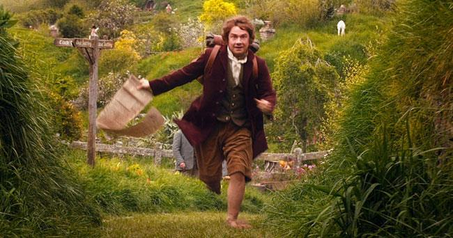 Bilbo Baggins in una scena dello Hobbit