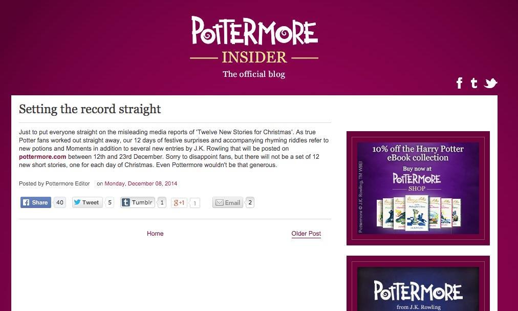 Post su Pottermore circa nuovi racconti di Harry Potter per Natale 2014