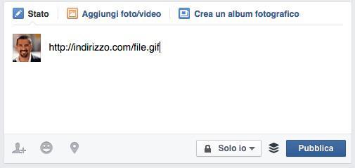 Url di una GIF incollato in Facebook