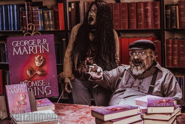 George Martin zombie nella seconda stagione di Z-Nation con i suoi libri