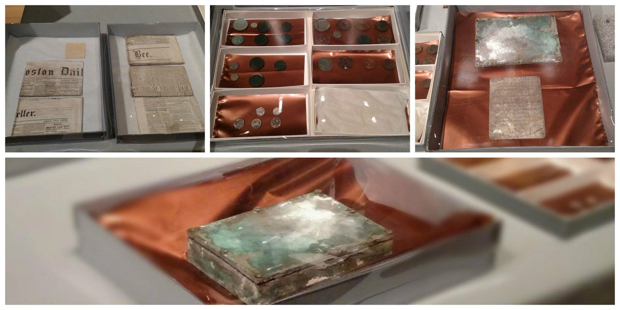 La capsula del tempo in esposizione al Museum of Fine Arts di Boston