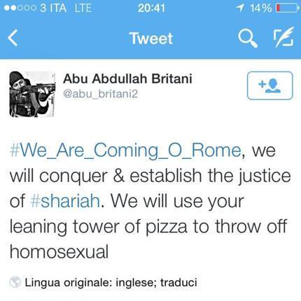 Minacce di un terrorista che scrive per errore Tower of Pizza