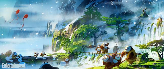 I panda giocano nel loro villaggio in Kung Fu Panda 3