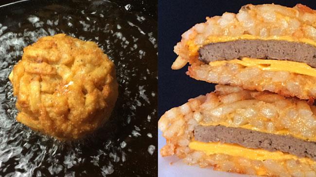 French Fry Burger Bomb in preparazione