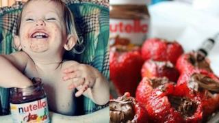 Bambina con Nutella