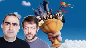 Elio, Rocco Tanica e la locandina del film Monty Python e il Sacro Graall