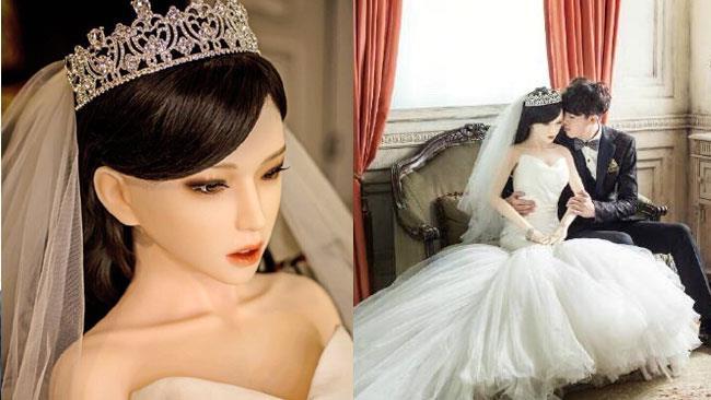 La sposa-bambola e il marito nel giorno delle nozze