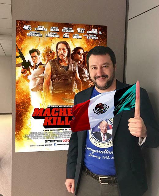 Meme di Salvini con la locandina di Machete Kills