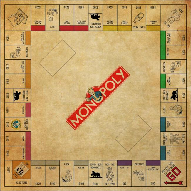 Il tabellone Monopoly di Fallout: New Vegas