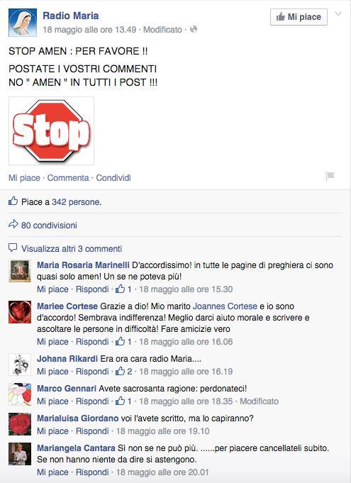 I commenti allo STOP agli Amen di Radio Maria