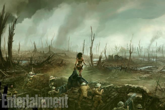 Wonder Woman sul campo di battaglia insieme ai soldati della prima Guerra Mondiale