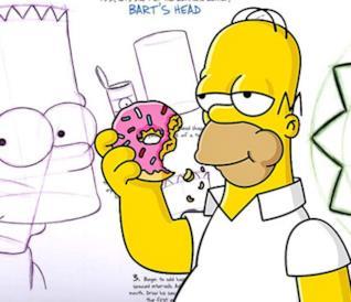 Disegnare Homer e famiglia è facile come mangiare una ciambella