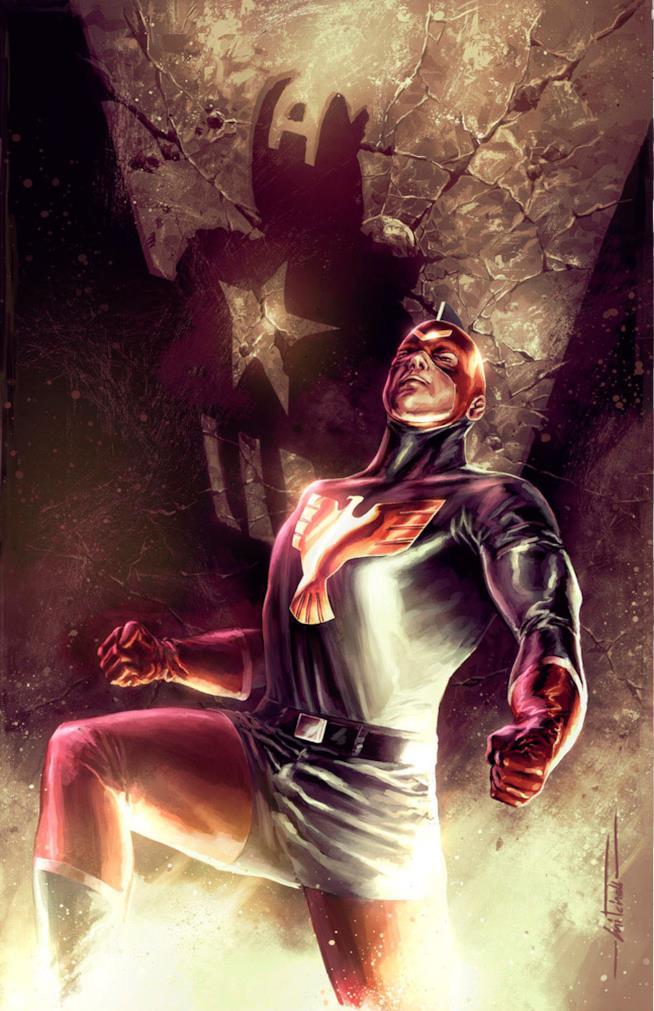 Un'illustrazione di The Patriot con alle spalle l'ombra di Captain America