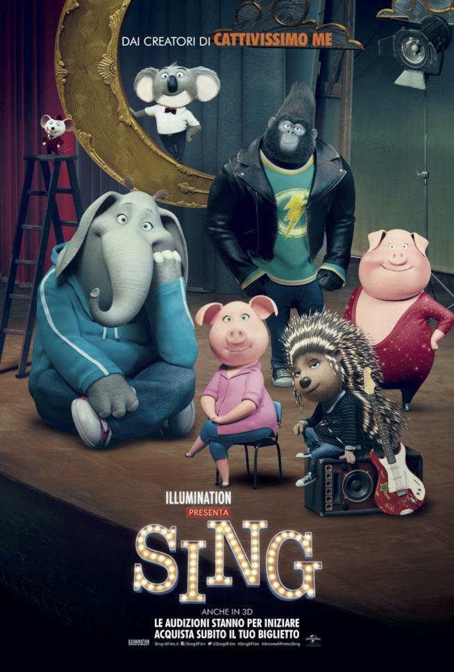 Gli animali di Sing in un poster