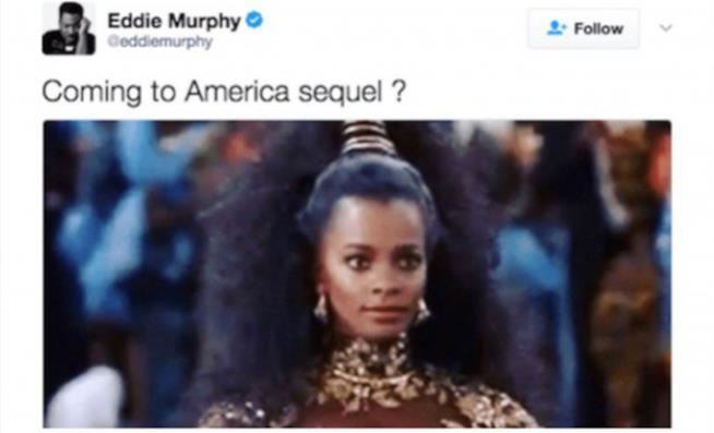 "Il Tweet di @eddiemurphy che chiede: ""Coming to America sequel?"""
