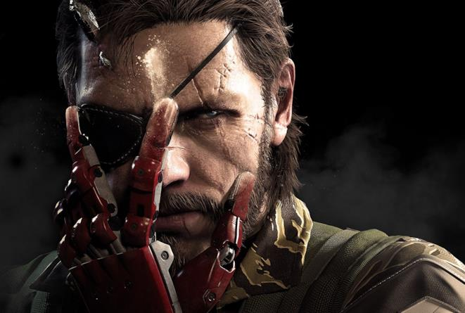 Un primo piano di Big Boss in un artwork ufficiale di Metal Gear Solid V