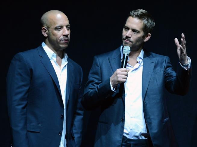 Vin Diesel e Paul Walker durante una conferenza stampa nel 2013