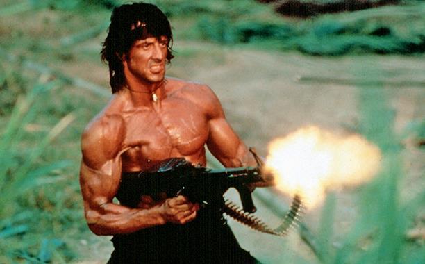 Sylvester Stallone nei panni di Rambo