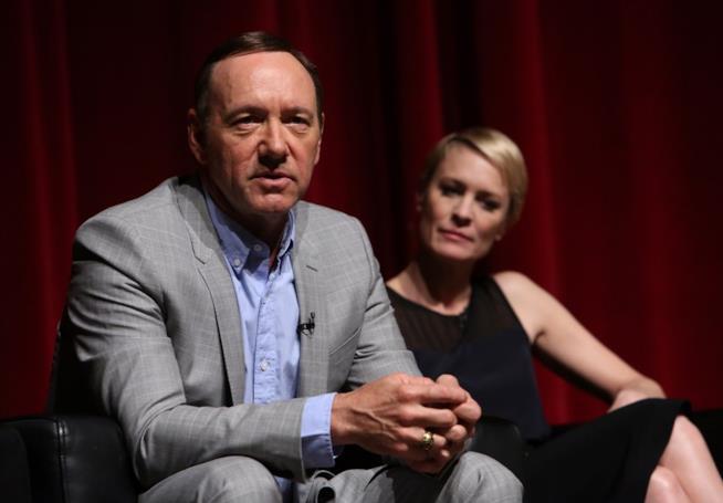 Robin Wright e Kevin Spacey nel corso di una conferenza stampa