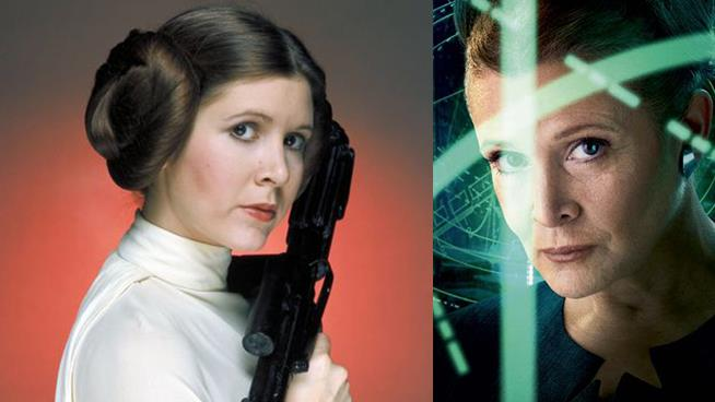 Carrie Fisher in Star Wars 3 e 7