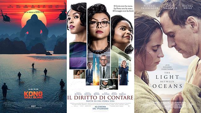 I poster dei film Kong: Skull Island, Il Diritto di Contare, La Luce Sugli Oceani