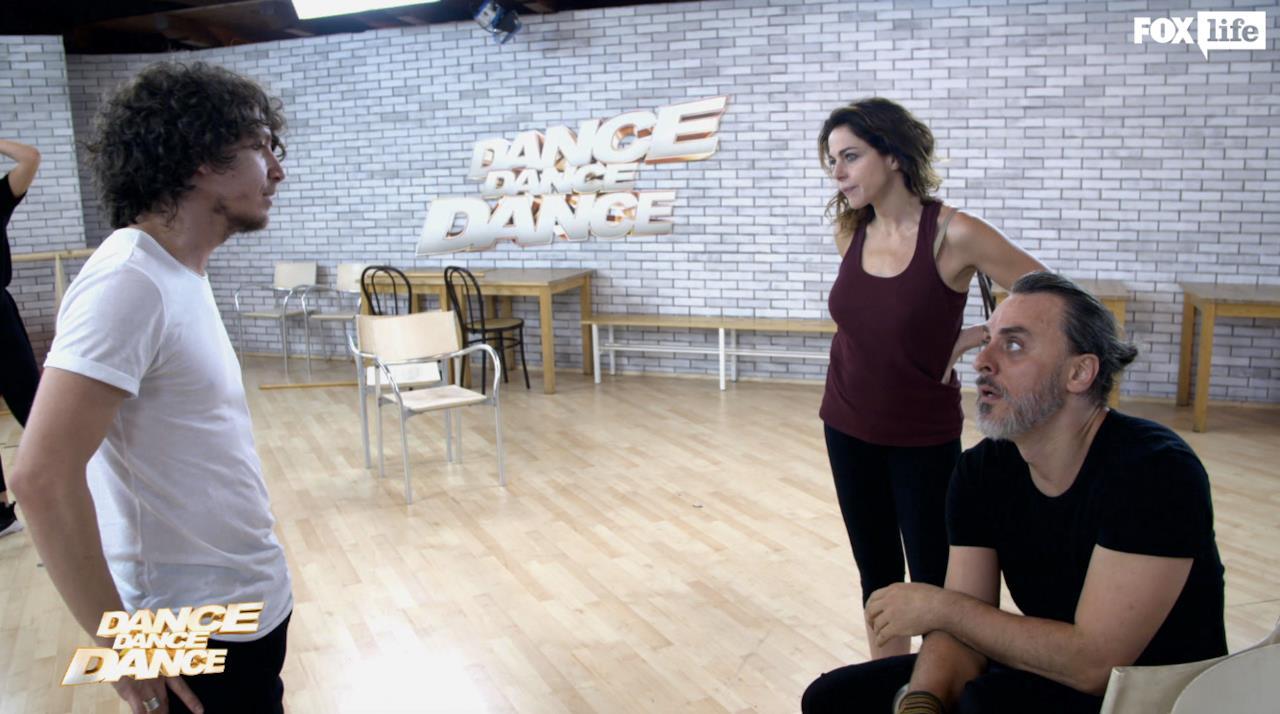 Claudia e Max con Laccio per la preparazione della coreografia