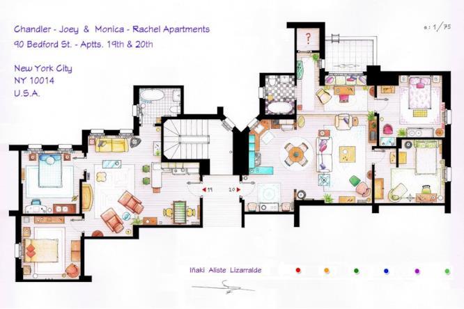 Gli appartamenti di Chandler e Joy e di Monica Rachel, due delle case più iconiche della televisione