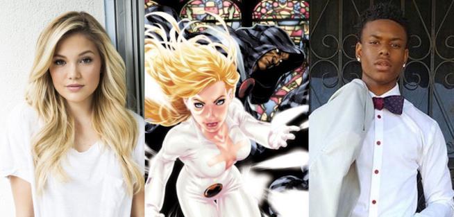 Olivia Holt e Aubrey Johnson insieme al fumetto di Cloak and Dagger